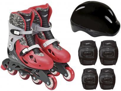 Patins In Line Infantil Fun Hot Wheels - Vermelho e Preto com Acessórios F00111
