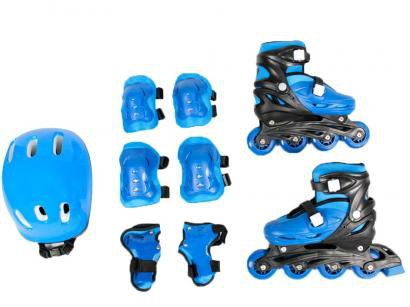 Patins in Line Infantil Bel Fix Sports Azul - com Acessórios