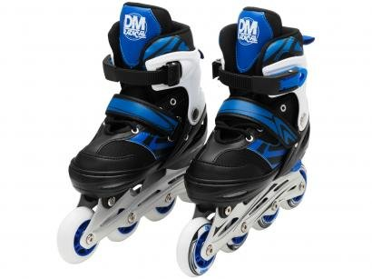 Patins In Line Infantil DM Radical Azul e Preto