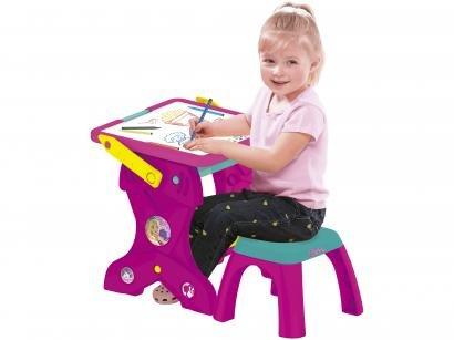 Mesa Infantil Educativa Fun Dobrável Barbie 2 em 1 - com Acessórios