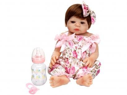 Boneca Reborn Pink Flower 45cm - com Acessórios Laura Baby