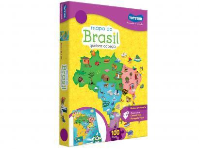 Quebra-cabeça 100 Peças História e Geografia - Mapa do Brasil Toyster 2063