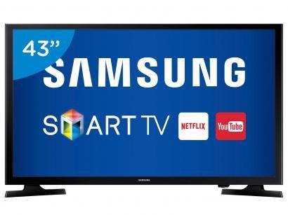 """Smart TV LED 43"""" Samsung Full HD UN43J5200 - Conversor Digital Wi-Fi 2 HDMI 1..."""