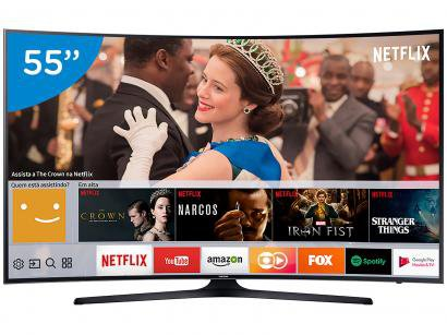 "Smart TV LED Curva 55"" Samsung 4K/Ultra HD - 55MU6300 Conversor Digital Wi-Fi 3..."