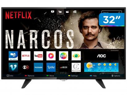 "Smart TV LED 32"" AOC Série 5000 LE32S5970 - Conversor Digital Wi-Fi 3 HDMI 2 USB"