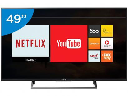 "Smart TV LED 49"" Sony 4K/Ultra HD KD-49X705E - Conversor Digital Wi-Fi 3 HDMI 2..."