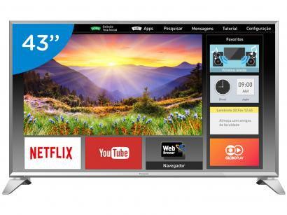 "Smart TV LED 43"" Panasonic Full HD Viera - TC-43ES63 Conversor Digital Wi-Fi 3..."