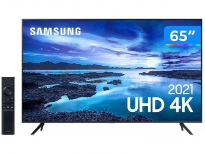 "Smart TV Crystal 4K 65"" Samsung UN65AU7700GXZD - Wi-Fi Bluetooth HDR 3 HDMI 1 USB"