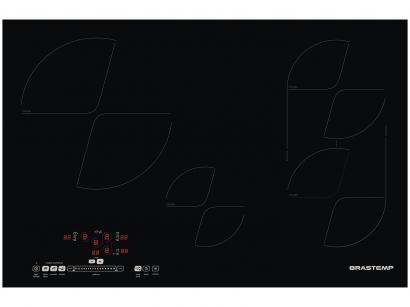 Cooktop 4 Bocas Brastemp BDJ80AEBNA Indução - Vitrocerâmico Timer Desligamento...