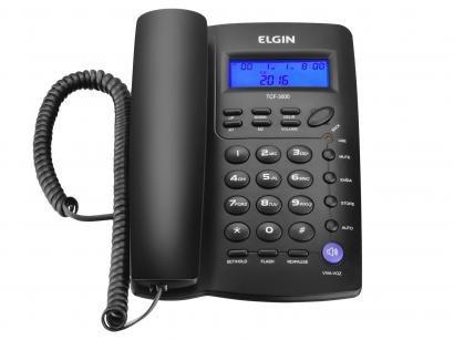 Telefone com Fio Elgin 42TCF3000 - Identificador de Chamada Viva Voz Chave Bloq.