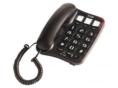 Telefone com Fio Elgin TCF2300 - Viva Voz Chave Bloq. Preto