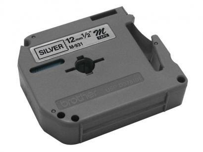 Fita para Rotulador Preta sobre Prateado 12mm - Brother M931