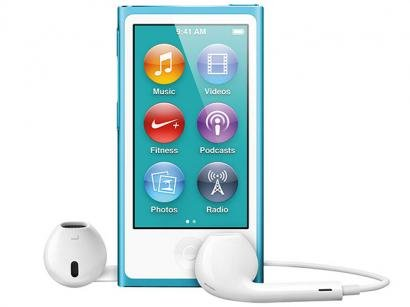 iPod Nano 16GB Azul Tela 2,5 - Multi Touch, Rádio FM e Bluetooth