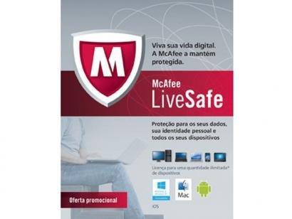 Antivirus Live Safe McAfee - Proteção Ilimitada - para Computadores +...