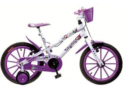 Bicicleta Infantil Aro 16 Colli Amorinha Branco e - Roxo Com Rodinhas Com Cesta Freio V-brake