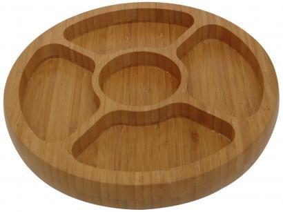 Gamela Oval em Bambu com 5 Divisórias - Mor 3365