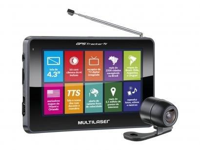"GPS Automotivo Multilaser Tracker III Tela 4.3"" - Touch TV Digital com Câmera..."