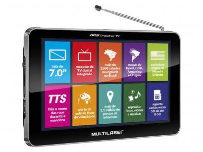 """GPS Automotivo Multilaser Tracker TV Tela 7"""" Touch - TV Digital 2.500 Cidades..."""