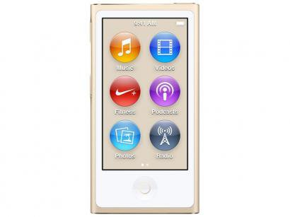 iPod Nano 16GB Dourado Tela 2,5 Apple - Multi Touch, Rádio FM e Bluetooth