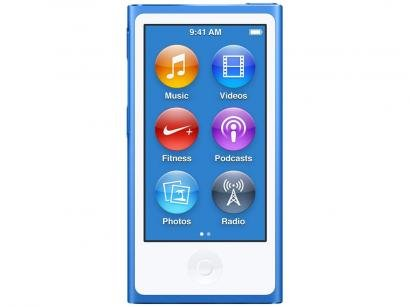 iPod Nano Apple 16GB Tela 2,5 Apple - Multi Touch, Rádio FM e Bluetooth Azul