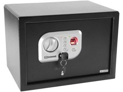 Cofre com Impressão Digital Pequeno em Aço - com Chave Safewell Fingerprint Safe 25 FPN