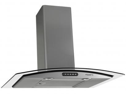 Coifa de Parede Fogatti 80cm com Vidro Curvo - 3 Velocidades Slim CVC80 PRATA...