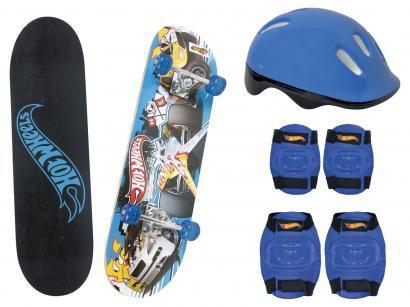 Skate Infantil Hot Weels 7620-5 com Capacete - Cotoveleira Joelheira Fun