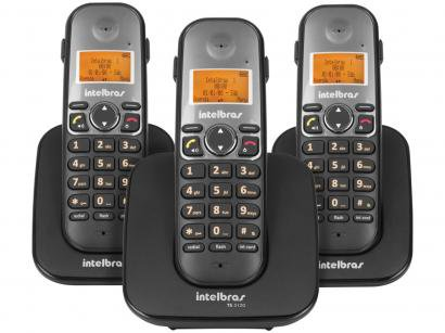 Telefone Sem Fio Intelbras TS 5123 + 2 Ramais - Identificador de Chamada Viva...