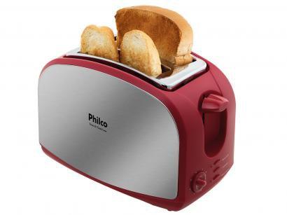 Torradeira Philco Inox e Vermelho French Toast - 8 Níveis de Tostagem com...