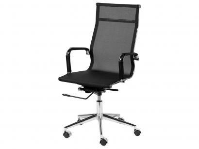 Cadeira Cromado para Escritório Giratória - Ór Design Office Eames Tela Alta
