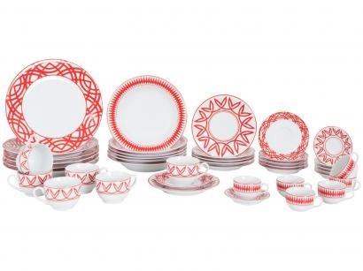 Aparelho de Jantar Chá Café 42 Peças Schmidt - Porcelana Redondo Colorido Helena