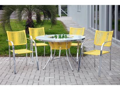 Conjunto de Mesa para Jardim/Área Externa Alumínio - com 4 Cadeiras Alegro...