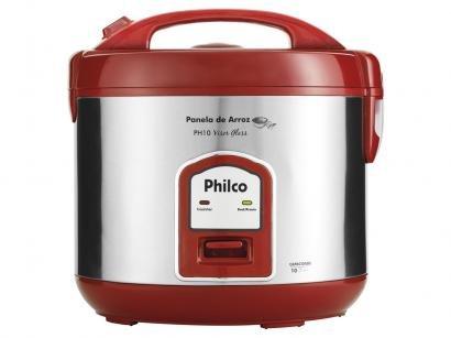 Panela de Arroz Elétrica Philco PH10 Visor Glass - 700W 1,8L Vermelho