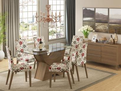 Conjunto de Mesa Madeira com 6 Cadeiras Estofadas - Madesa Sinuosa
