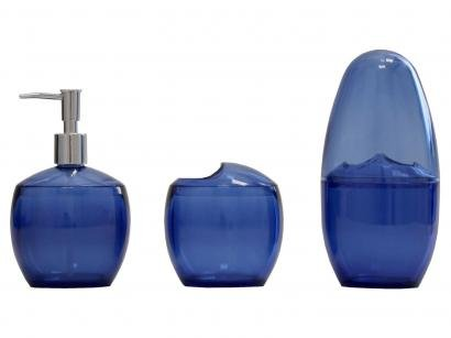 Kit para Banheiro 3 Peças Azul Coza - Spoom 99190/4461
