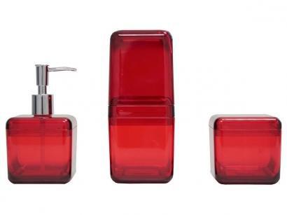 Kit para Banheiro 3 Peças Vermelho e Inox Coza - Cube 99216/4111