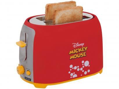 Torradeira Mallory Vermelho e Preto Disney - Mickey Mouse 6 Níveis de Tostagem