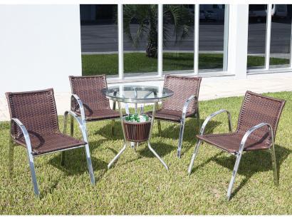 Conjunto de Mesa para Jardim com 4 Cadeiras - Alegro Móveis ACJMB400C319