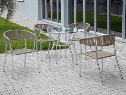 Conjunto de Mesa para Jardim com 4 Cadeiras - Alegro Móveis CJM119P402.0001