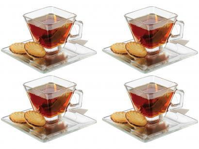 Conjunto de Chá e Café Vidro 8 Peças Crisa - Tempo