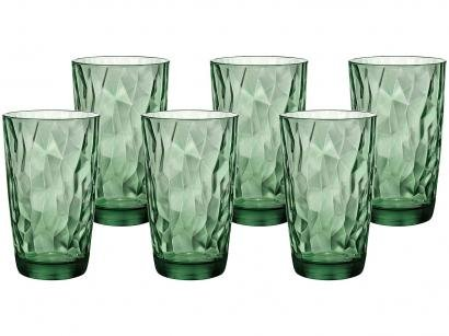 Jogo de Copos de Vidro 6 Peças - Verde 470ml Bormioli Rocco Diamond