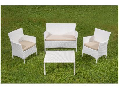 Conjunto de Mesa para Jardim/Área Externa - com 3 Cadeiras Estofadas Alegro...