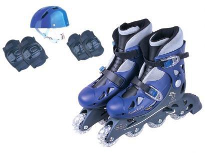 Patins in Line Infantil Fênix AD-01 Azul - com Acessórios