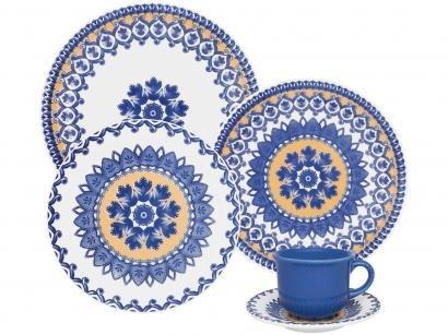 Aparelho de Jantar 20 Peças Oxford Cerâmica - Redondo Colorido Daily Floreal La Carreta