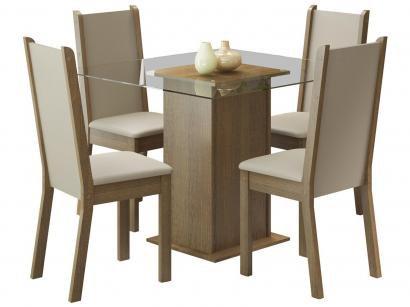 Mesa de Jantar 4 Cadeiras Quadrada Tampo de Vidro - Madesa Aline