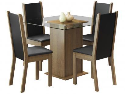 Mesa de Jantar com 4 Cadeiras Quadrada - Tampo de Vidro Madesa Aline
