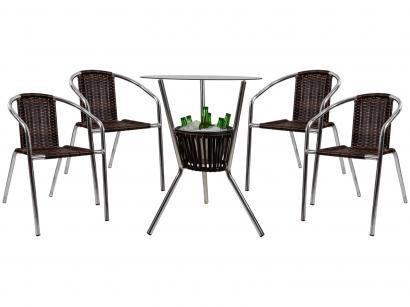 Conjunto de Mesa para Área Externa de Fibra - com 4 Cadeiras Alegro Móveis CJMB40199