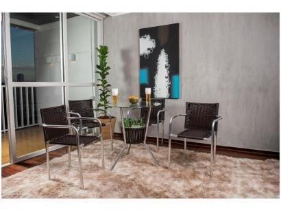 Conjunto de Mesa para Área Externa de Fibra - com 4 Cadeiras Alegro Móveis CJMB401315