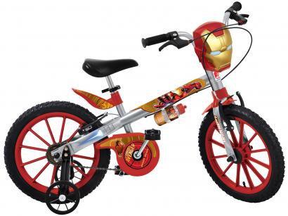 Bicicleta Infantil Marvel Homem de Ferro Aro 16 - Bandeirante Prata com Rodinhas