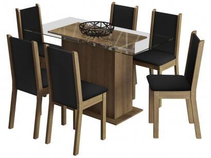 Mesa de Jantar 6 Cadeiras Retangular - Tampo de Vidro Madesa Aline